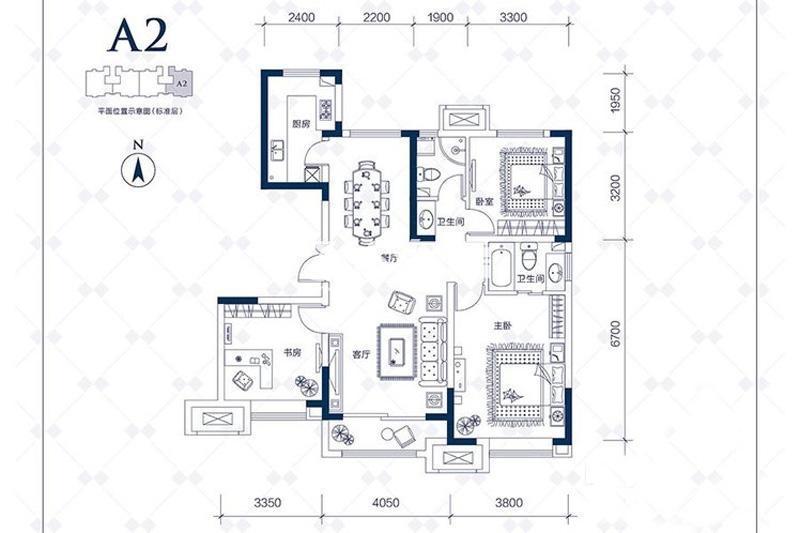 洋房125平米三居