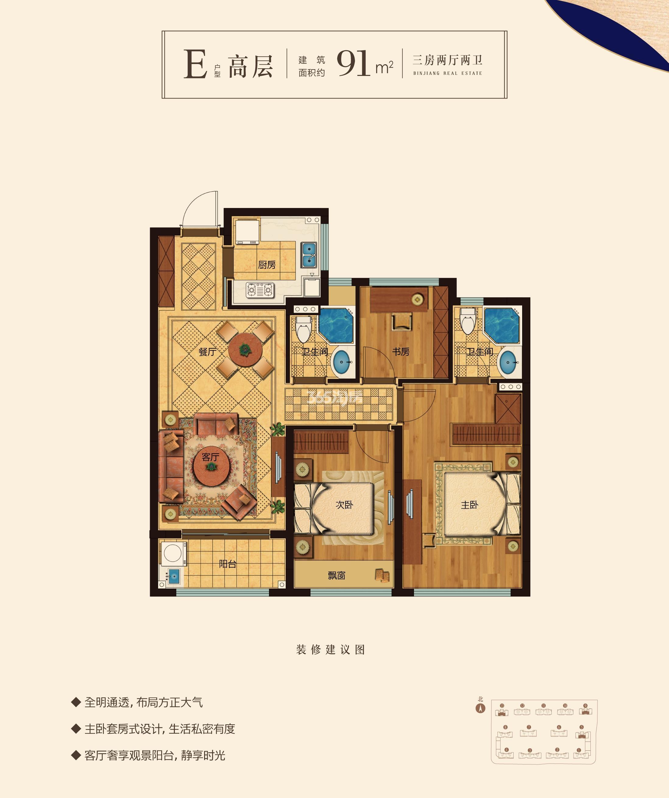 滨江新希望拥潮府高层E户型91方 (5、9、13#)