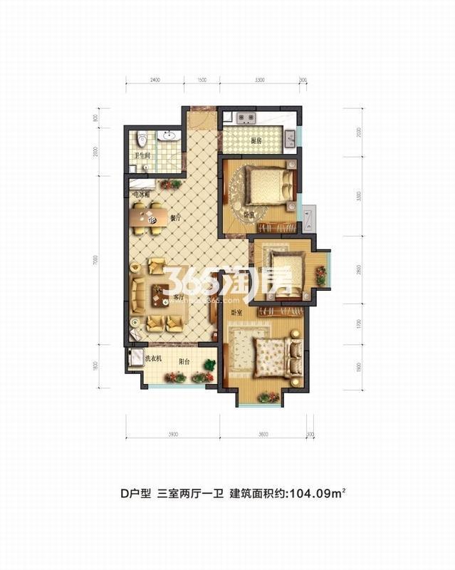 摩卡思想家D户型三室两厅一卫一厨104.09㎡