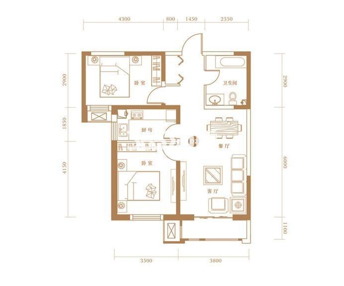 D2户型 2室2厅1卫 97.31㎡