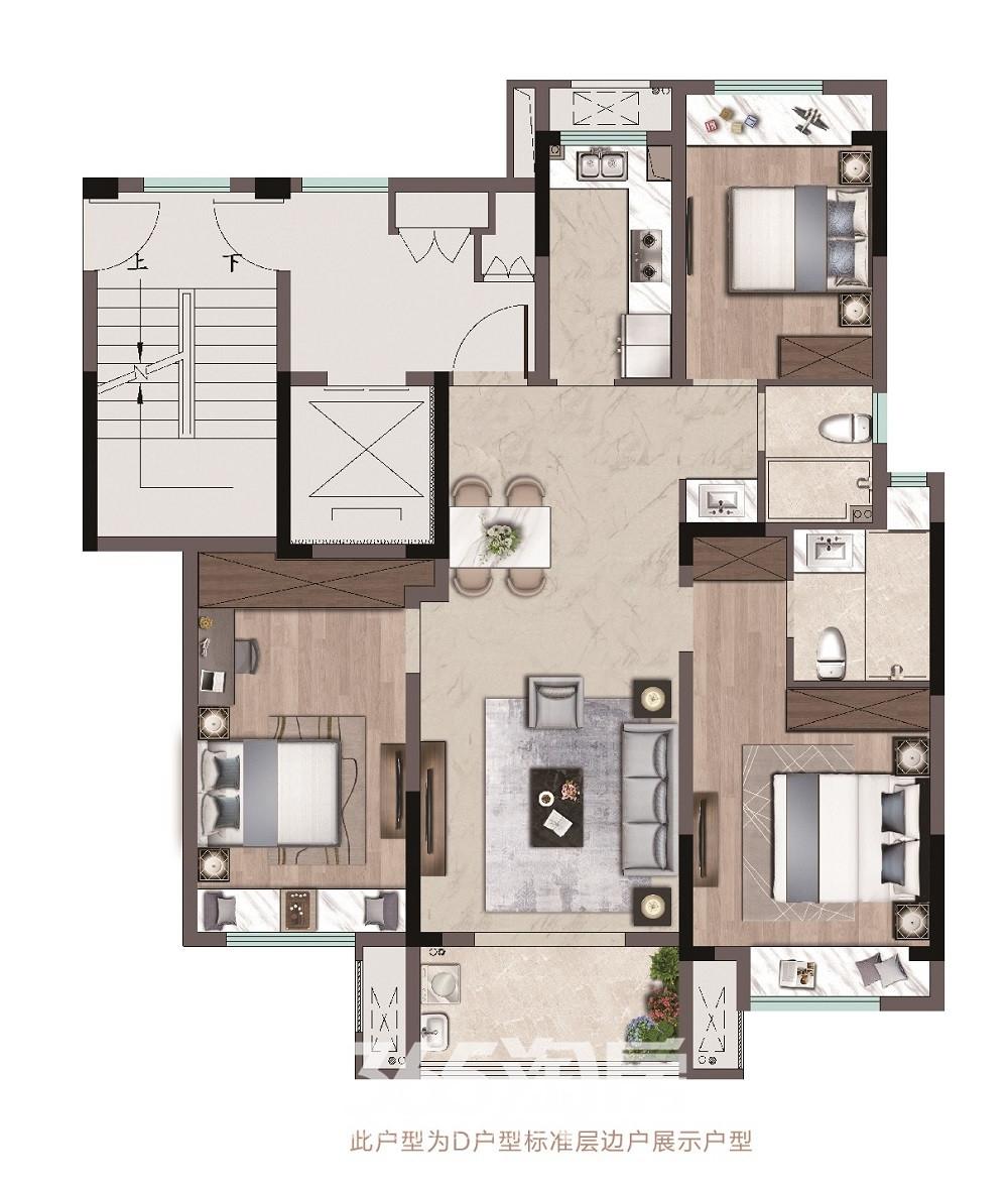 祥生府120-122平三室两厅两卫D户型图