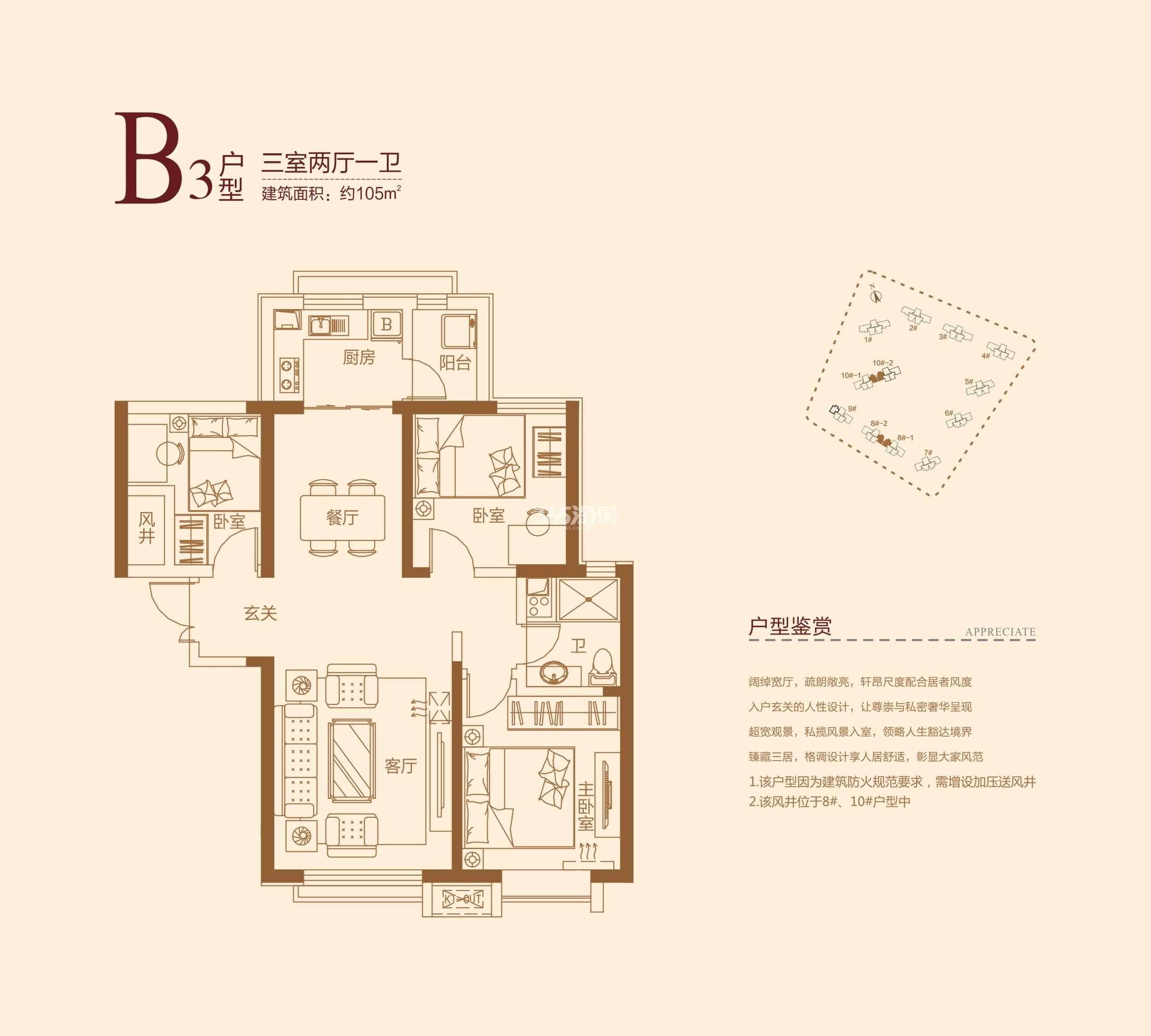 B3户型 三室两厅一卫 建面约105㎡