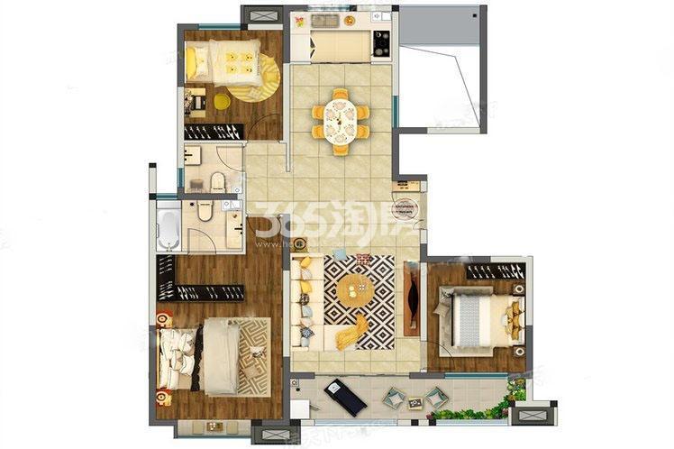 奥园枫丹名郡3室2厅125㎡户型图