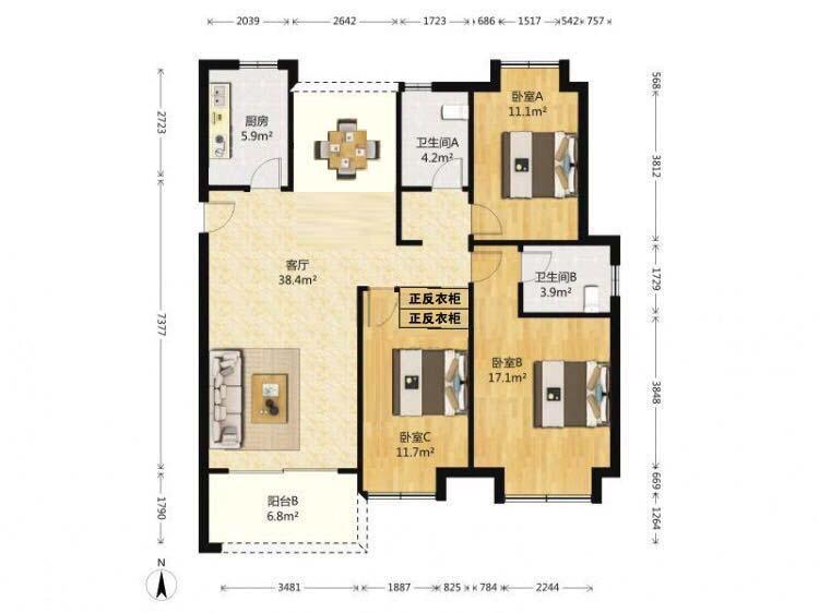 中电颐和府邸3室2厅2卫129.00㎡505.00万元