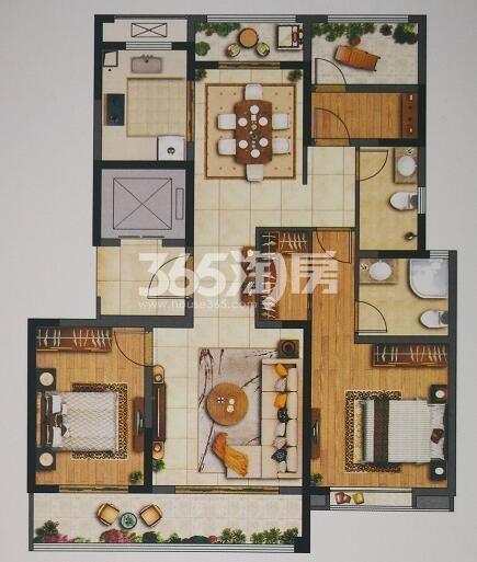 绿城西安全运村小高层三室两厅128㎡户型图