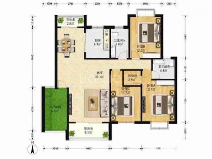 天元吉第城3室2厅2卫128平米简装产权房2010年建