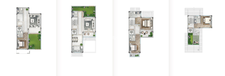 世茂国风大境137方(双首层地下室)合院户型图