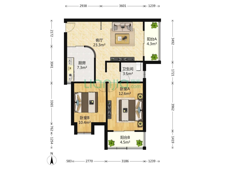 武夷绿洲2室2厅1卫89.48平米2008年产权房精装