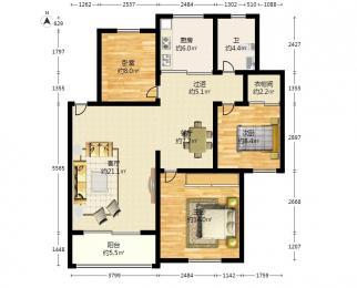 天鹅湖花园3室2厅1卫92.8平方米270万元