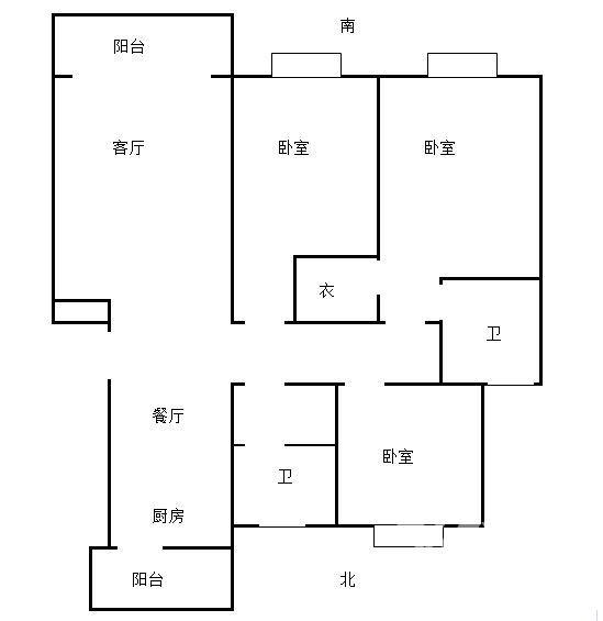 金庭国际花园3室2厅2卫122平米毛坯产权房2009年建