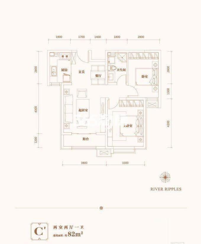 2室2厅1卫 82平米