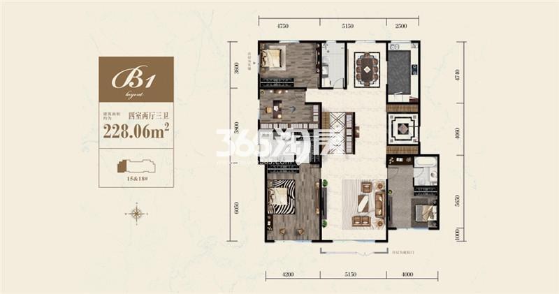 B1户型 228平米四室两厅三卫