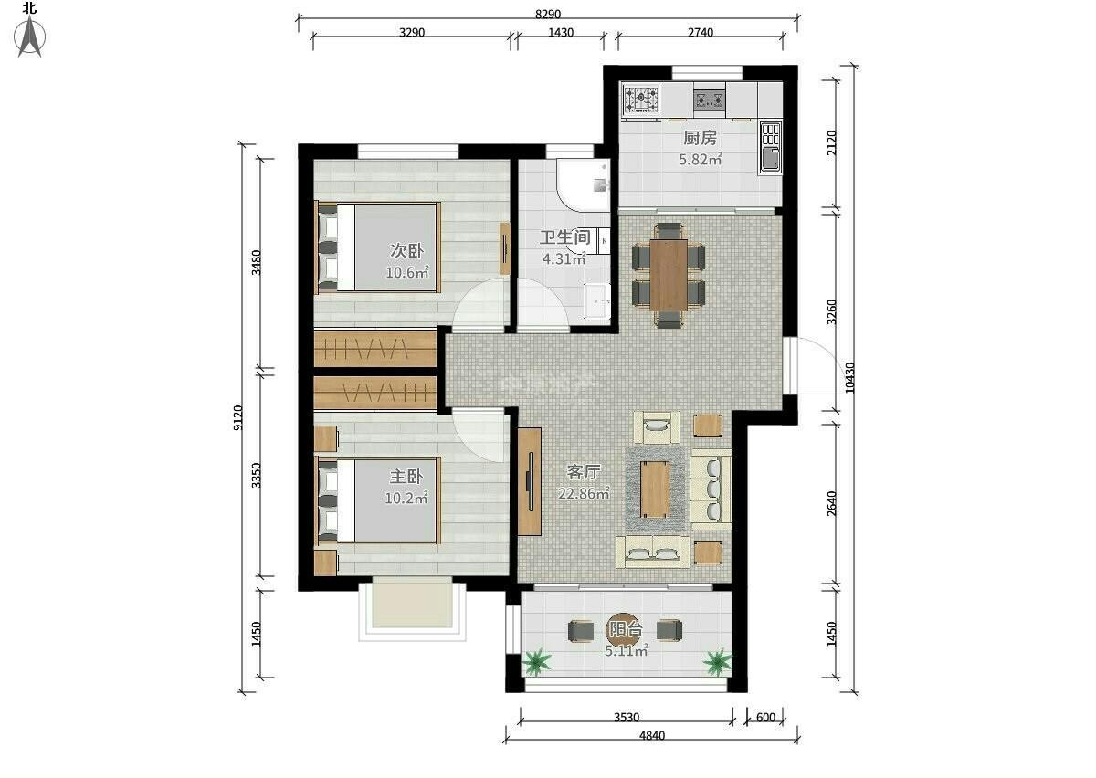 恒盛金陵湾2室2厅1卫100.51平米2016年产权房豪华装