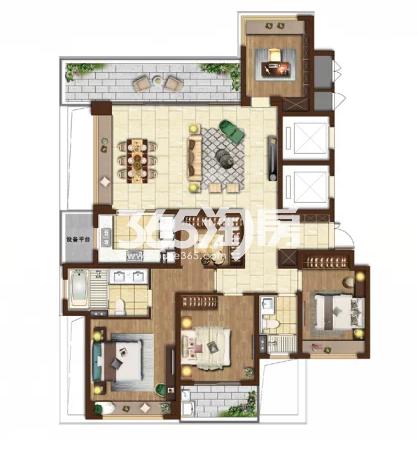 湖尊户型五室两厅两卫 185平