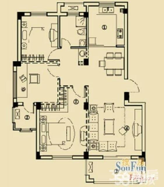 开元云龙谷3室2厅1卫105平米2013年产权房毛坯