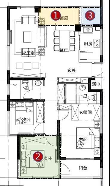 银城云谷天境高层2、3号楼124方户型图