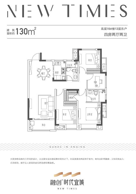 安庆融创时代宜城四室两厅两卫高层130㎡户型图