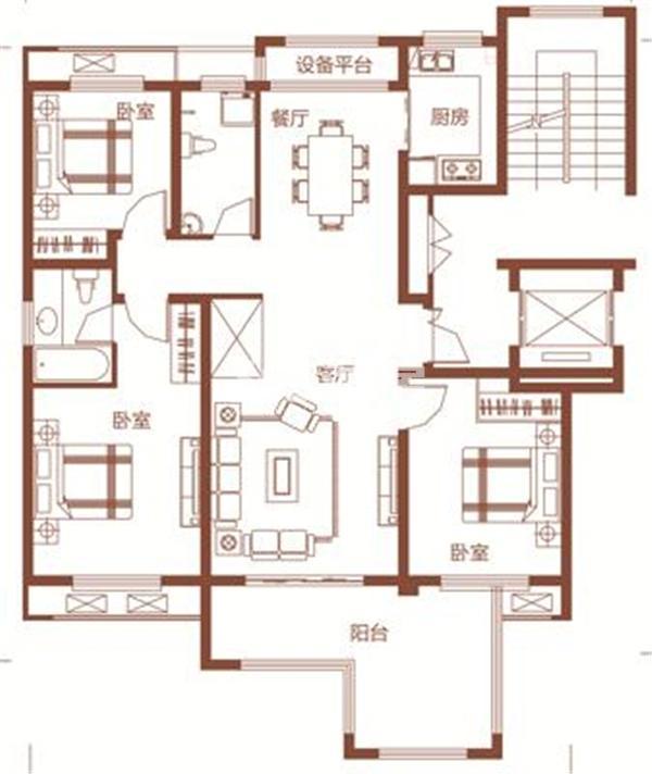 枫林学府D1-3户型 三室两厅两卫 126.13㎡