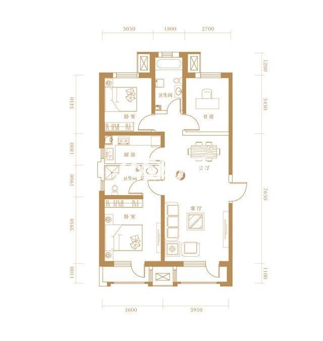 B1户型 3室2厅2卫 119.67㎡
