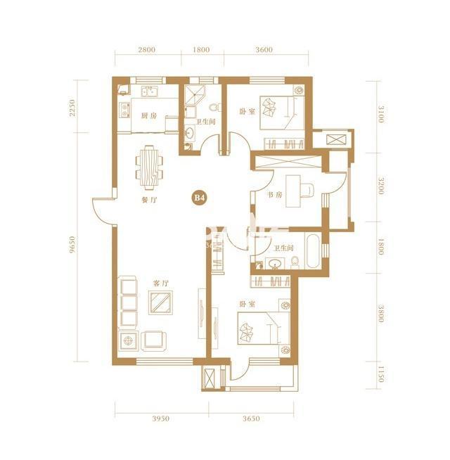 B4户型 3室2厅2卫 137.44㎡