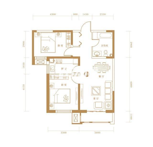 D1户型 2室2厅1卫 92.83㎡