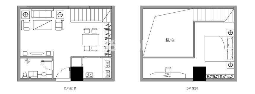 斯瑞天寓D户型53.76㎡平面