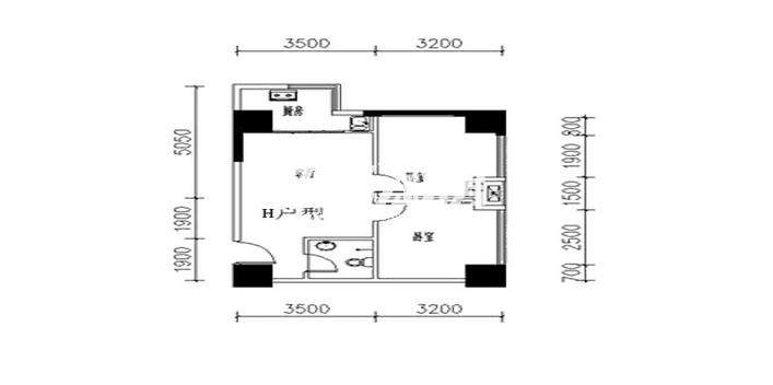 金叶新城H户型两室两厅一卫一厨76.39平
