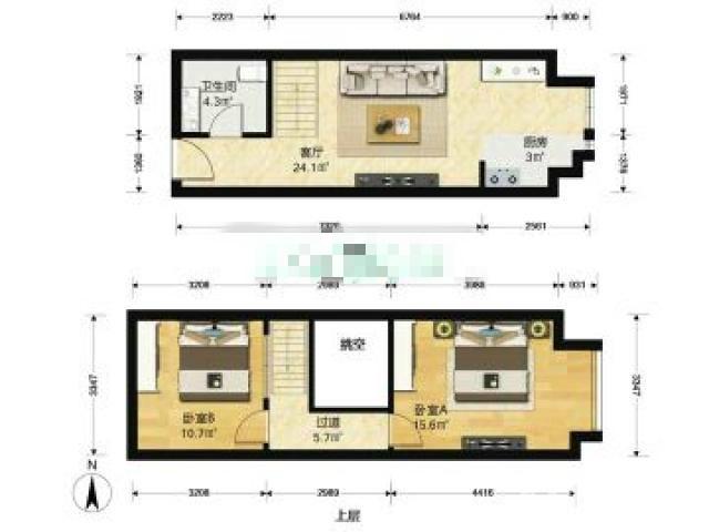 东郊小镇第八街区2室1厅1卫45.88平米产权房精装