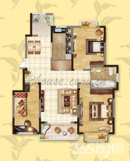 爱涛天逸园3室2厅1卫117.13平米整租毛坯