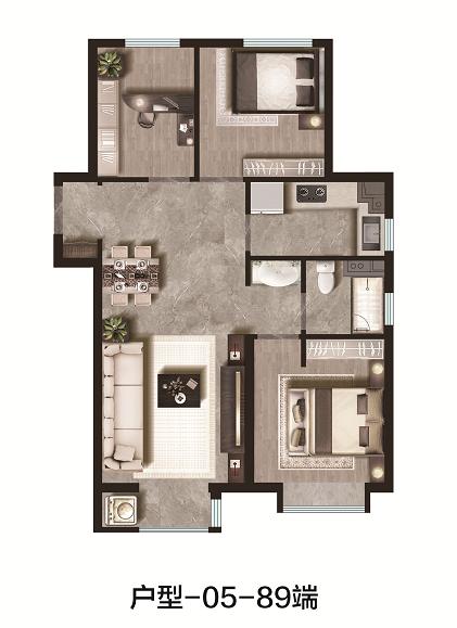 89平米 3室2厅1卫端户