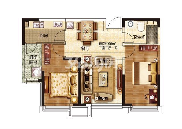 40#两室两厅一卫96㎡