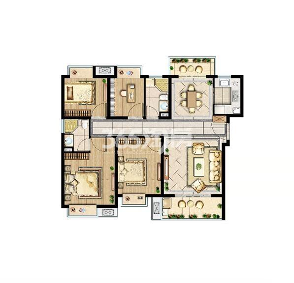 中洲崇安府高层120平御境阔宅户型图