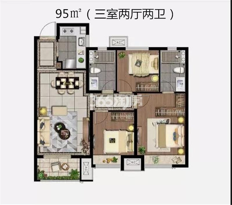 雲珑府95㎡三室A1户型图