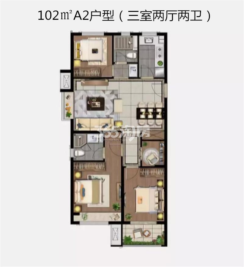 雲珑府102㎡三室A2户型图