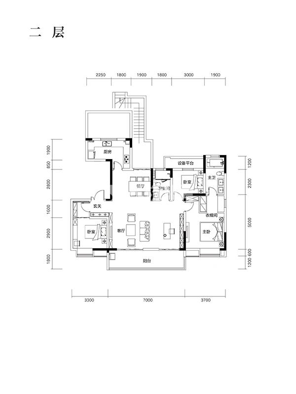 望江台Y29户型146㎡之二层房型