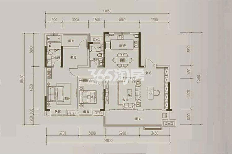 江山庐州印143㎡ X20 2~10层01、04户型平面图
