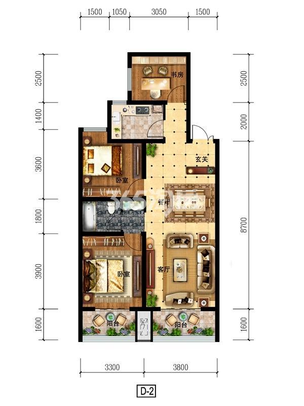 d2户型 111.36㎡ 三室两厅一厨一卫