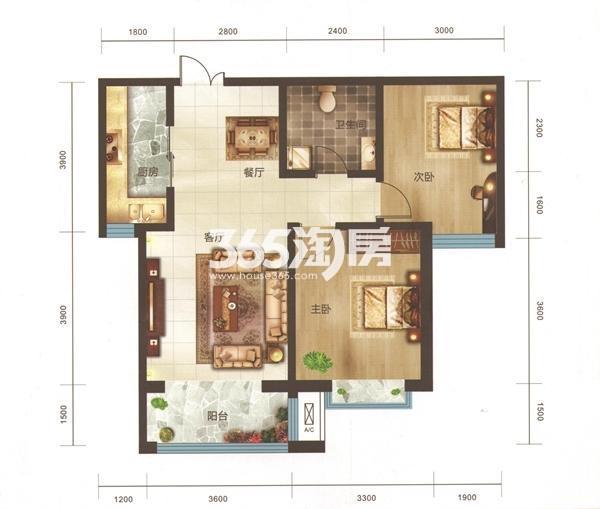 A3户型 两房两厅一卫 面积95.15㎡