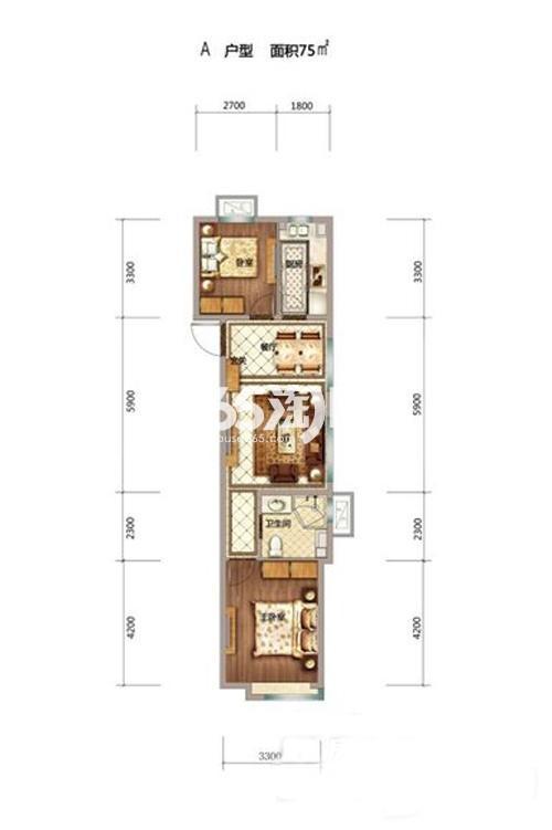 75平米两室