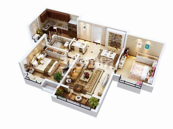 金泰经开花城C1户型两室两厅一厨一卫101.61㎡