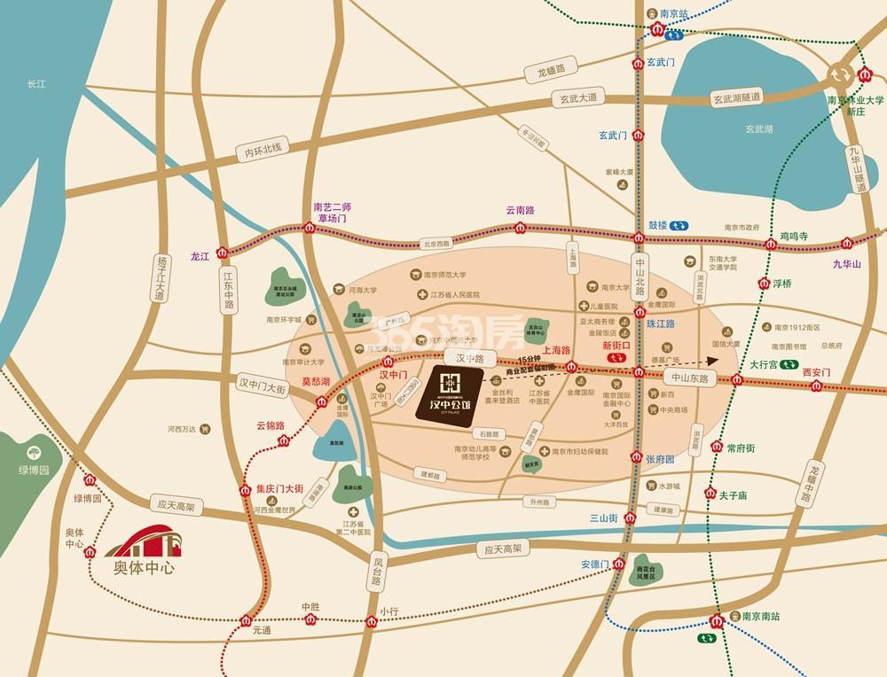南京平安国际金融中心汉中公馆交通图