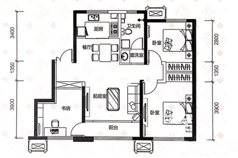 114平米三室两厅一卫