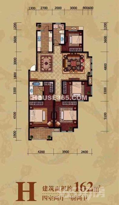 伟星城4室2厅2卫160平米简装使用权房2013年建