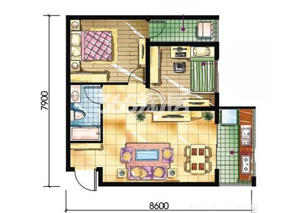 恒天第五座E户型2室2厅1卫建筑面积约71.89平米