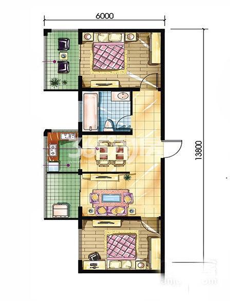 恒天第五座D户型2室2厅1卫建筑面积约87.67平米