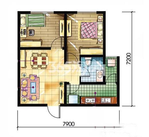 恒天第五座B户型2室2厅1卫建筑面积约64.63平米