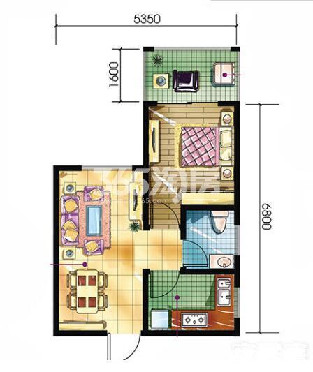 恒天第五座a2户型1室1厅1卫建筑面积约48.60平米