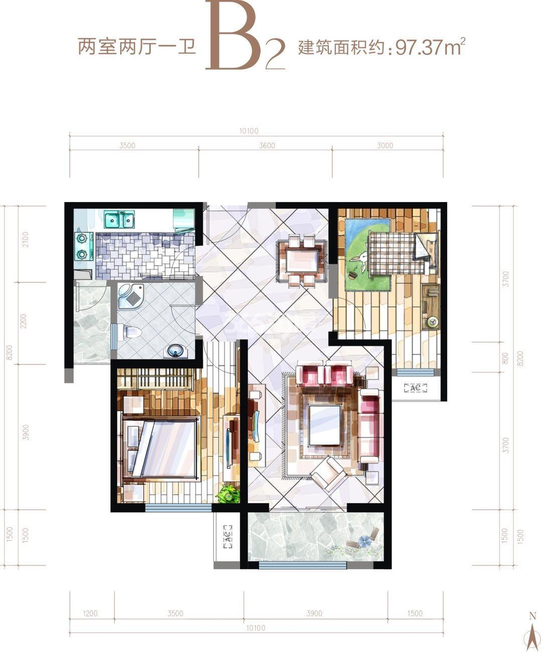 华安紫竹苑B2户型两室两厅一厨一卫97.37㎡