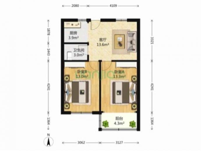 流水东苑2室1厅1卫,运河景观房,两房朝南,满五年
